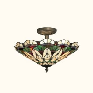 Dale Tiffany Peacock Tiffany Semi Flush Mount   16W in. Antique Bronze Paint   Tiffany Ceiling Lighting