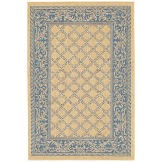 Couristan Recife Garden Lattice Indoor/Outdoor Area Rug   Natural/Blue   Area Rugs