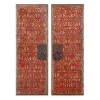 Uttermost Red Door Panels Wood Wall Art   Set of 2   Wall Sculptures and Panels