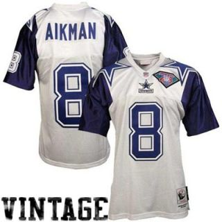 Mitchell & Ness Dallas Cowboys #8 Troy Aikman White Throwback Football Jersey
