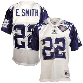 Mitchell & Ness Dallas Cowboys #22 Emmitt Smith White Throwback Football Jersey