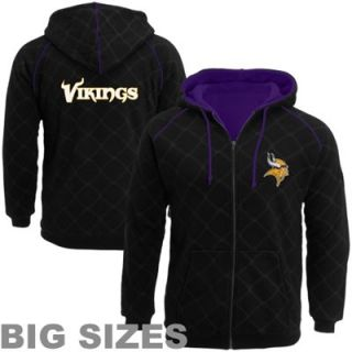 Pro Line Minnesota Vikings Big Sizes Windowpane Full Zip Hoodie   Black