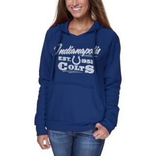 Indianapolis Colts Ladies Raw Edge V Neck Pullover Hoodie   Royal Blue