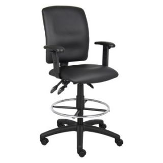 Boss B1646 Multi function Leatherplus Drafting Stool with Adjustable Arms   Black   Drafting Chairs & Stools