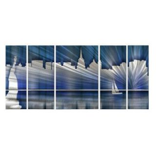 Cool New York City Skyline Metal Wall Art   Set of 5   56W x 23.5H in.   Wall Sculptures and Panels