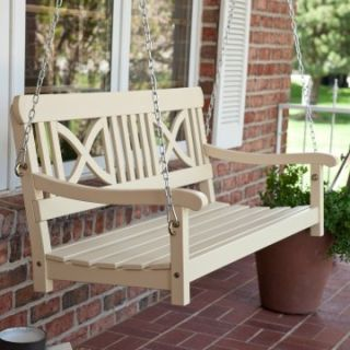 Matera Crossback Wood Porch Swing   Sand