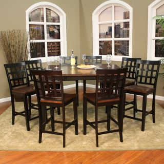 AHB Rosetta 9 Piece Two Tone Counter Height Set with Mia Stools   Dining Table Sets