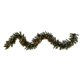 Vickerman 9 ft. Ashberry Pine Pre Lit Garland   Clear Lights   Christmas Garland