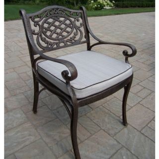 Oakland Living Mississippi Cast Aluminum Dining Arm Chair   Outdoor Dining Chairs