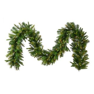 Vickerman Pre Lit LED Cashmere Garland with Battery Operated Timer   Clear   Christmas Garland