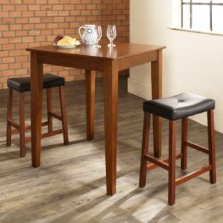 Crosley 3 Piece Pub Dining Set with Tapered Leg and Upholstered Saddle Stools   Indoor Bistro Sets