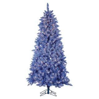 Pre Lit Lightly Flocked Blue Keystone Pine Christmas Tree   Christmas Trees