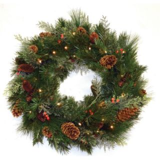 30 in. White Pine Pre lit LED Wreath   Battery Operated   Christmas Wreaths