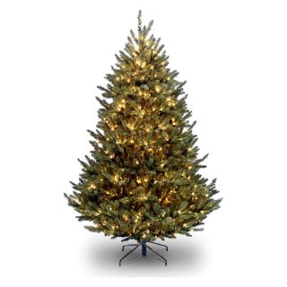 7.5 ft. Natural Fraser Medium Fir Hinged Pre Lit Christmas Tree   Clear   Christmas Trees