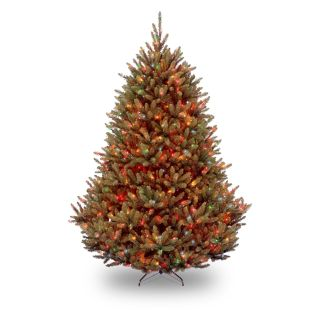 7.5 ft. Natural Fraser Medium Fir Hinged Pre Lit Christmas Tree   Multi Colored   Christmas Trees