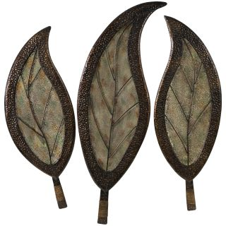 Botanical Iron and Glass Indoor/Outdoor Wall Art   Set of 3   Outdoor Wall Art