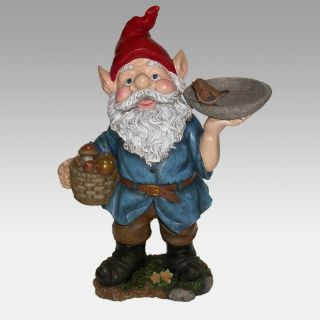 Garden Gnome with Bird Feeder   Garden Statues