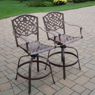 Oakland Living Mississippi Cast Aluminum Swivel Bar Stool   Set of 2   Outdoor Bar Stools