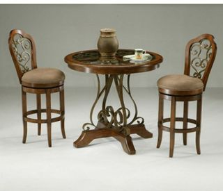 Pastel Carmel 3 piece Pub Table Set with Glass and Wood Top   Pub Tables