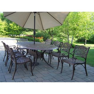 Oakland Living Mississippi Cast 82 x 42 in. Oval Patio Dining Set with Swivel Chairs & Tilting Umbrella with Stand   Seats 8   Patio Dining Sets