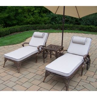 Oakland Living Mississippi Cast Aluminum Chaise Lounge Set with Tilting Umbrella and Stand   Conversation Patio Sets