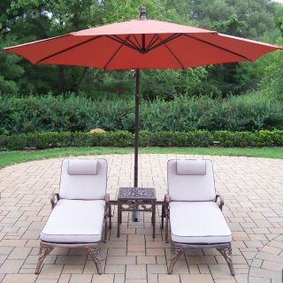 Oakland Living Mississippi Cast Aluminum Chaise Lounge Set with Cantilever Umbrella   Conversation Patio Sets