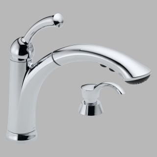 Delta Lewiston 16926 Single Handle Pull Out Kitchen Faucet with Soap Dispenser   Kitchen Faucets