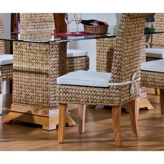 Hospitality Rattan Sea Breeze Indoor Seagrass 48 in. Pedestal Dining Table with Beveled Glass   Natural   Dining Tables