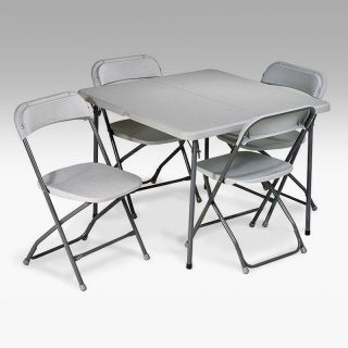 Office Star Products 36 in. Square Resin Folding Card Table and Chair Set   5 Piece   Grey   Banquet Tables