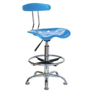 Vibrant Drafting Stool with Tractor Seat   Bright Blue and Chrome   Drafting Chairs & Stools