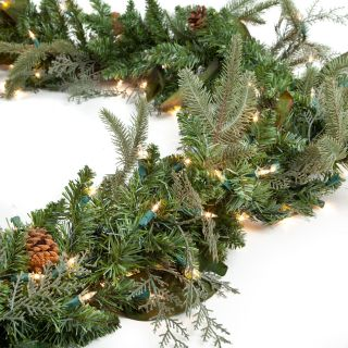 Pre lit Clear Light 6 ft. Green River Spruce Garland   Christmas
