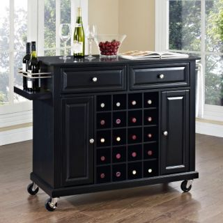 Crosley Solid Black Granite Top Wine Cart   Kitchen Islands and Carts