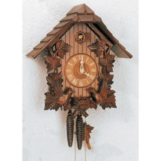 Schneider 14 Inch Deep Carved Birds and Roof Black Forest Cuckoo Clock   Cuckoo Clocks