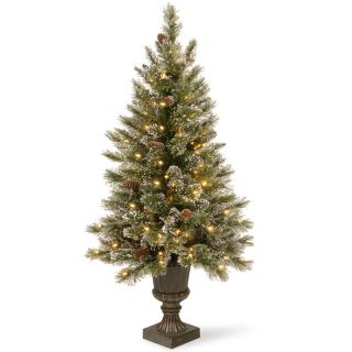 4 ft. Glittery Bristle Pine Pre Lit Christmas Tree   Clear Lights   Christmas Trees