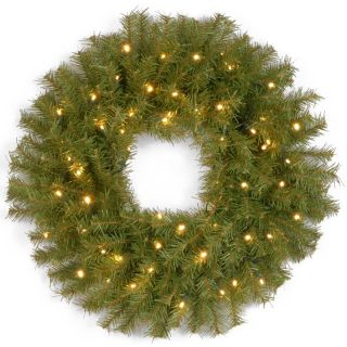 24 in. Norwood Fir Pre Lit Battery Operated Dual LED Wreath   Christmas Wreaths
