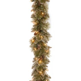 6 ft. Glittery Bristle Pine Pre Lit LED Garland   Battery Operated   Christmas Garland