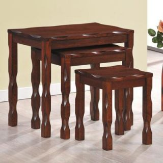 Monarch Black Cherry Solid Wood Nesting Tables   3 Piece Set   End Tables