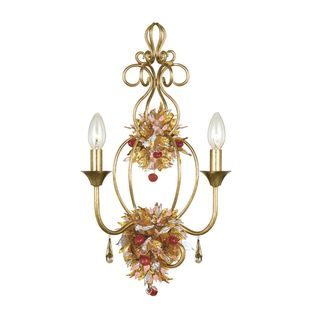 Fiore 2 light Antique Gold Lead Wall Sconce with Blown Glass Accents Sconces & Vanities