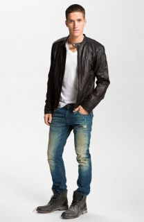 DIESEL® Leather Jacket, T Shirt & Jeans