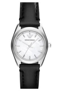 Emporio Armani Round Leather Strap Watch, 26mm