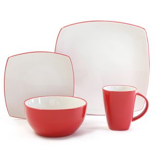 Gibson Home Soho Lounge 16 piece Two tone Red Dinnerware Set Gibson Home Casual Dinnerware