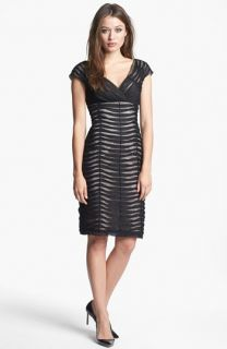 Adrianna Papell Pintucked Mesh Sheath Dress