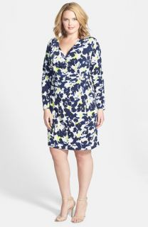 Anne Klein Floral Print Faux Wrap Dress (Plus Size)