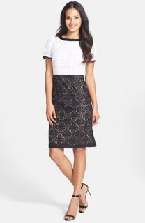Adrianna Papell Colorblock Lace Sheath Dress