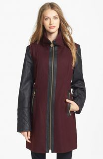 MICHAEL Michael Kors Faux Leather Sleeve Wool Blend Coat