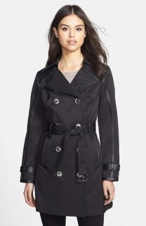 MICHAEL Michael Kors Faux Leather Trim Trench Coat