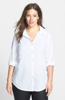 Eileen Fisher Classic Collar Linen Blend Shirt (Plus Size)
