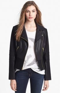 GUESS Faux Leather & Wool Blend Moto Jacket