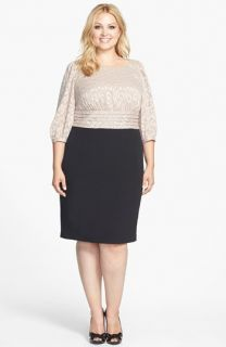 Adrianna Papell Mixed Media Sheath Dress (Plus Size)
