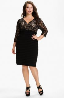 Adrianna Papell Lace Bodice Banded Sheath Dress (Plus Size)